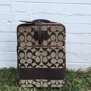 Coach Signature Stripe Brown Carry On Wheel Along