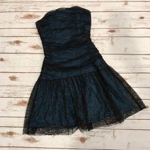 🌻 Betsey Johnson Strapless Dress w/Lace Overlay