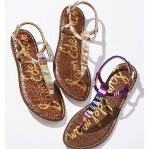 Multicolor Beaded Leather Thong Strap Sandals