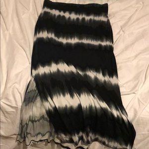 NWT A.n.a black tie dye maxi skirt with slit