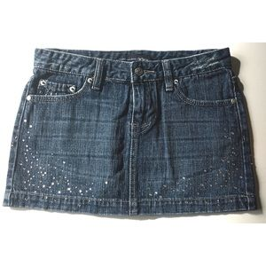 Refuge Jean Skirt Denim Mini with Rhinestones 3