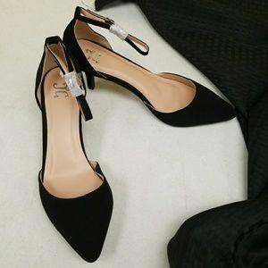 JC black suede heels ankle strap.  NWOB 8