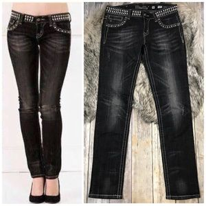 | Miss Me | Studded BLING Skinny Jeans Black Edgy