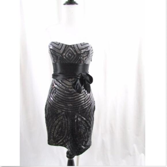 70322813 BCBGMaxAzria Dresses | Bcbg Max Azria Strapless Black Sequin Dress ...