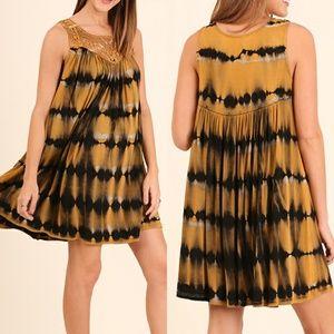 Tie Dye Dress Size S M L Black Yellow Lace Tunic