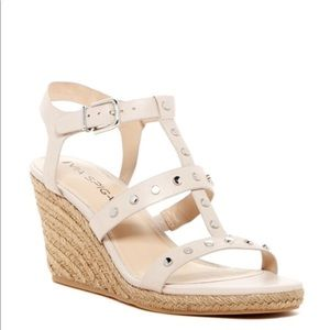 Taupe Studded Jute Wedge Sandal