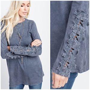 Mineral Washed slub knit Jersey top