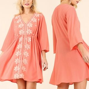 Dress Size S M L Coral Orange Floral Tunic Bell
