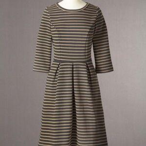 Boden Lou Lou dress 6R charcoal/caramel striped