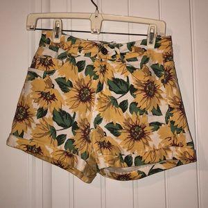 High Waisted Sunflower Denim Shorts
