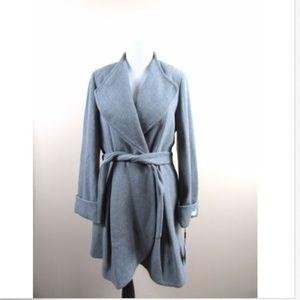Calvin Klein Wool Blend Wrap Coat Tie Belt