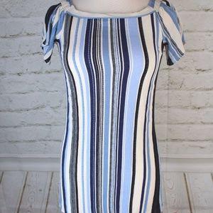 [RTS] Monteau Blue Multi-Color Striped Mini Dress