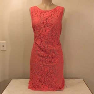 NWOT Designer Boho Salmon Lace Midi Fashion Dress
