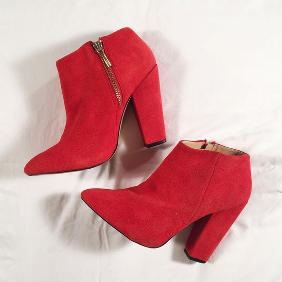 look good shoes sale pre order new product Zara Red Suede Ankle Boots 37