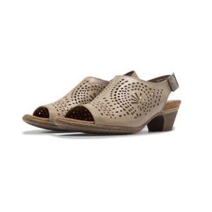Khaki Perforated Open Back Mule