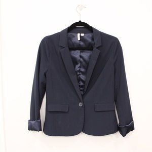Fitted Navy Blazer with 3/4 cuffed sleeves