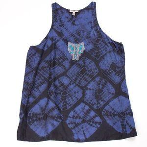 Joie tie dye beaded blue silk tank top blouse