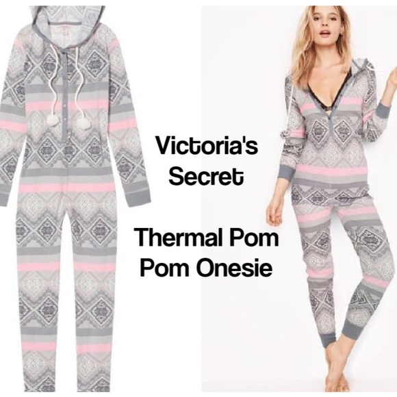 Victoria/'s Secret Fireside Long Jane Thermal One Piece Pajama Pink /& Gray NEW S
