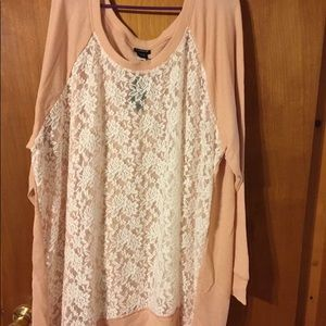 Torrid pink and white lace sweatshirt
