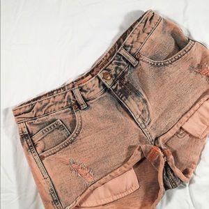 Zara Pink Acid Wash Denim Shorts Size 6