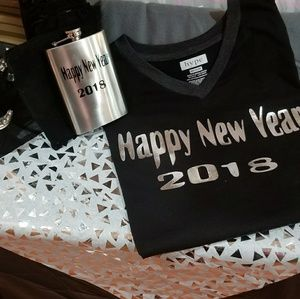 Tops - Flasks And Tee Shirts With Happy New Year 2018
