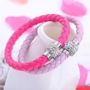 Jewelry - Lavender Purple Braided Leather Crystal Bracelet