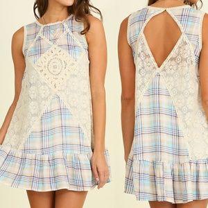 Dress Size S M L Blue Plaid Lace Shift Tunic