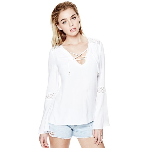 69b5d114e2274 Guess Tops - SALE Guess Rene Tie Front Tunic