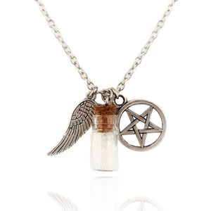 Jewelry - Angel Wing Pentagram Glass Wishing Bottle Necklace