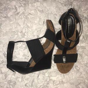 BCBGENERATION • Black and Cork Wedge Sandal