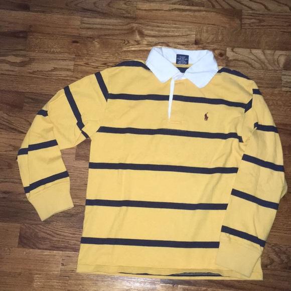 1160b4df Boys Ralph Lauren Yellow Navy Rugby Polo Med 10/12.  M_5a2a8a6f6d64bc3de1022541