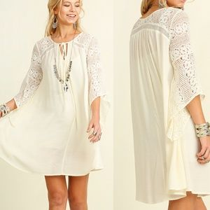 Dress Size S M L Ivory Lace Tunic Bell 3/4 Sleeve