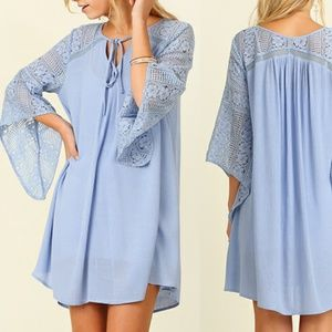 Dress Size S M L Blue Lace Tunic Bell 3/4 Sleeve
