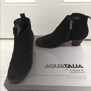 Italian black suede waterproof comfortable booties
