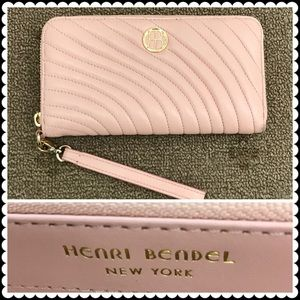 HENRI BENDEL Pink quilted zip around Wallet