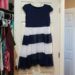 Dresses & Skirts - Navy and white striped dress NWOT