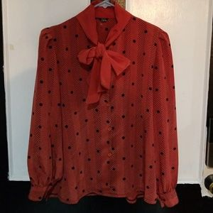Vintage 1970's Polka Dot Pussy Bow Blouse