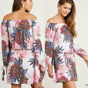 Floral Dress Size S M L Lace Shift Tunic Bishop