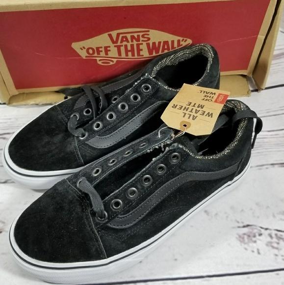 VANS Black Tweed Old Skool Sneakers Mens 6 01229639b