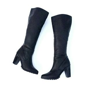 Charlotte Ruse Black Knee High Chunky Heeled Boots