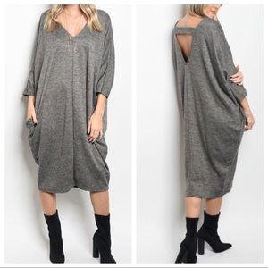 Dresses & Skirts - Grey loose fit side pocket dress