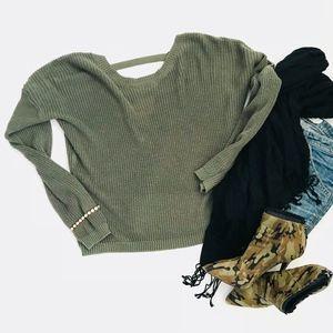 Full Tilt V Back Sweater - Olive