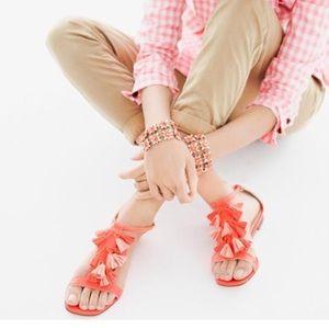 Jcrew electric red tassel sandal 8