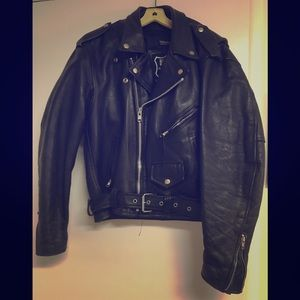 Vintage 90s heavy metal leather jacket.