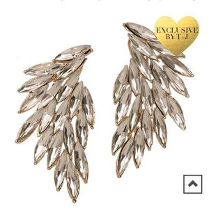 NWT T&J Designs Luxe Wing Crystal Earrings