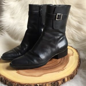 Ralph Lauren side zip leather booties