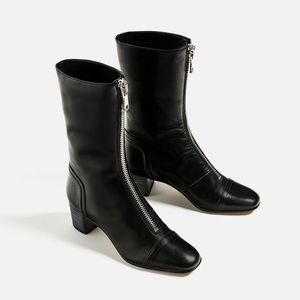 🌷NWT Zara leather medium heel zipped boots