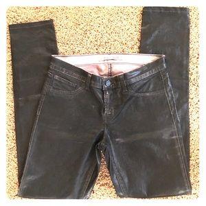 J Brand Pencil Leg Black faux leather pant size 27