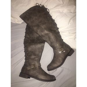 Grey, Lace-Up Over the Knee Boots