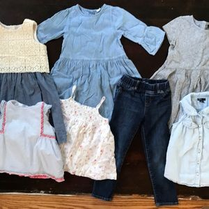 Baby Gap 5T Girls' Lot: 3 dresses,3 tops, I jeans